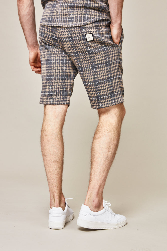 Grey Kingsdale Prince of Wales Check Shorts - P r é v u . S t u d i o .