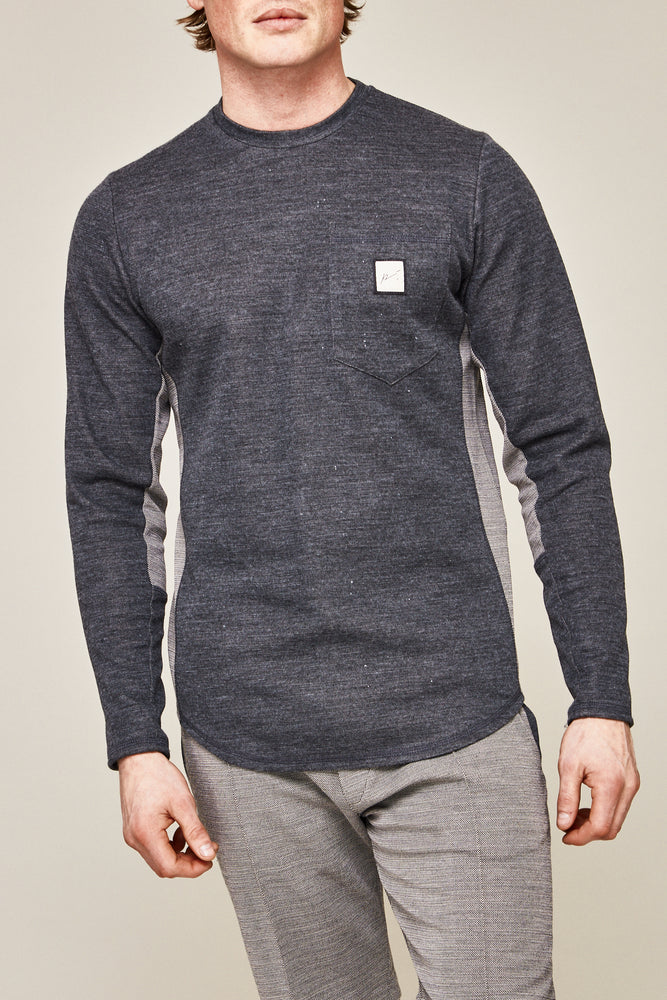 Grey Seville Contrast Panel Slim Fit T-shirt - P r é v u . S t u d i o .