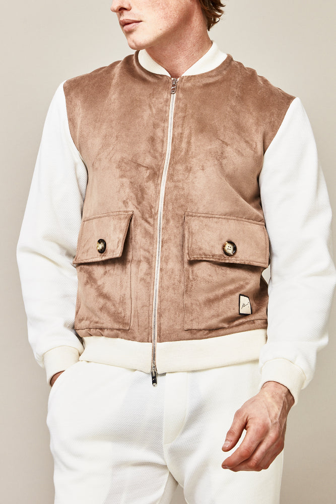 Load image into Gallery viewer, Tan and Cream Argon Faux Suede Bomber Jacket - P r é v u . S t u d i o .