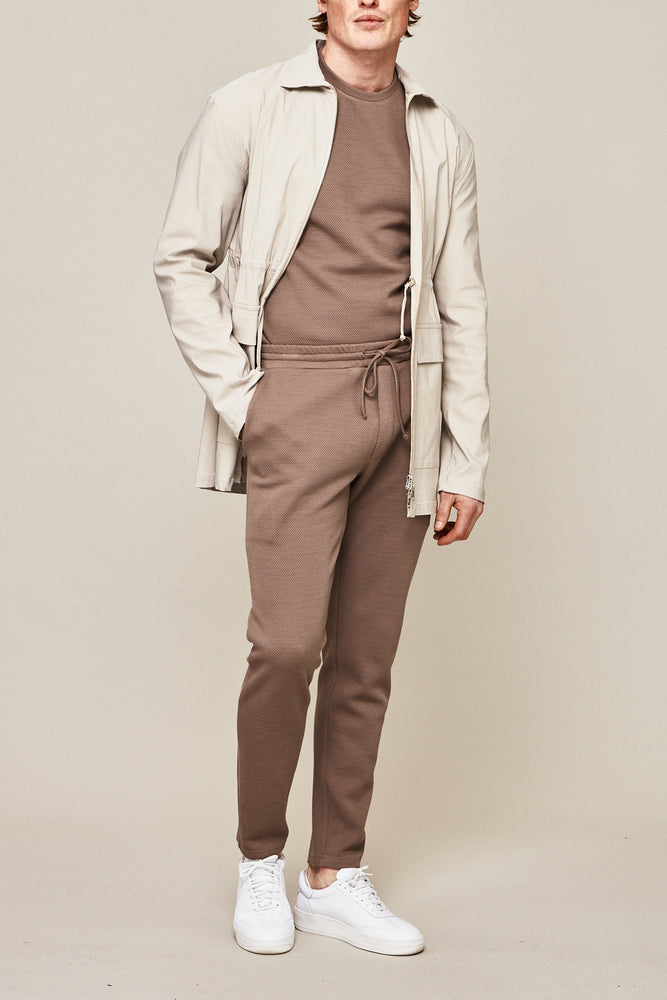Light Brown Belshaw Twill Slim Fit Joggers - P r é v u . S t u d i o .
