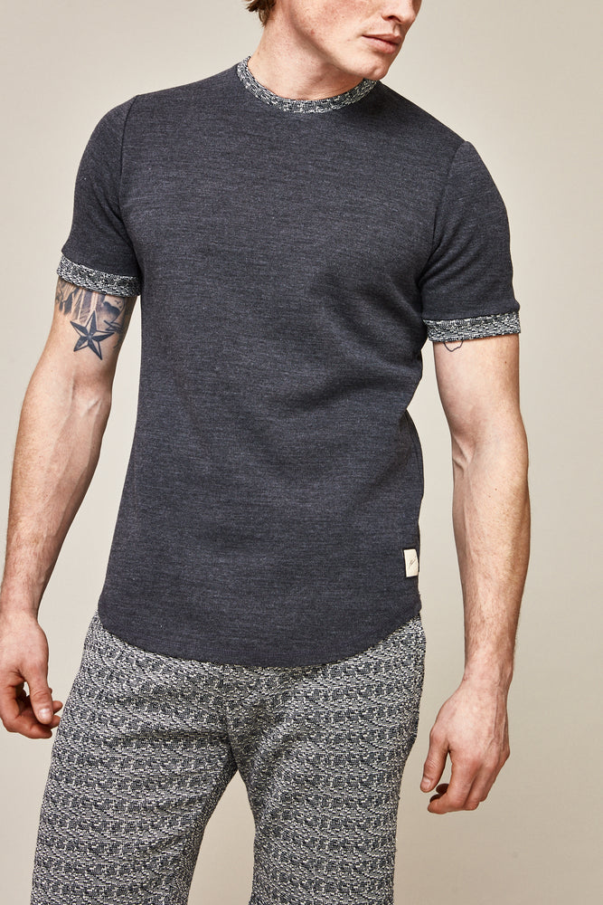 Load image into Gallery viewer, Charcoal Grey Sloane Contrast Slim Fit T-shirt - P r é v u . S t u d i o .