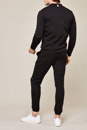 Load image into Gallery viewer, Black Caspian Zig Zag Knitted Cardigan - P r é v u . S t u d i o .