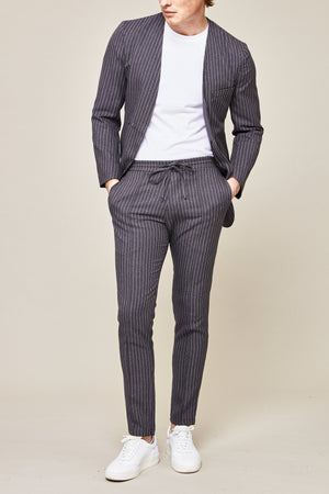 Load image into Gallery viewer, Grey Liberty Pinstripe Slim Fit Blazer - P r é v u . S t u d i o .
