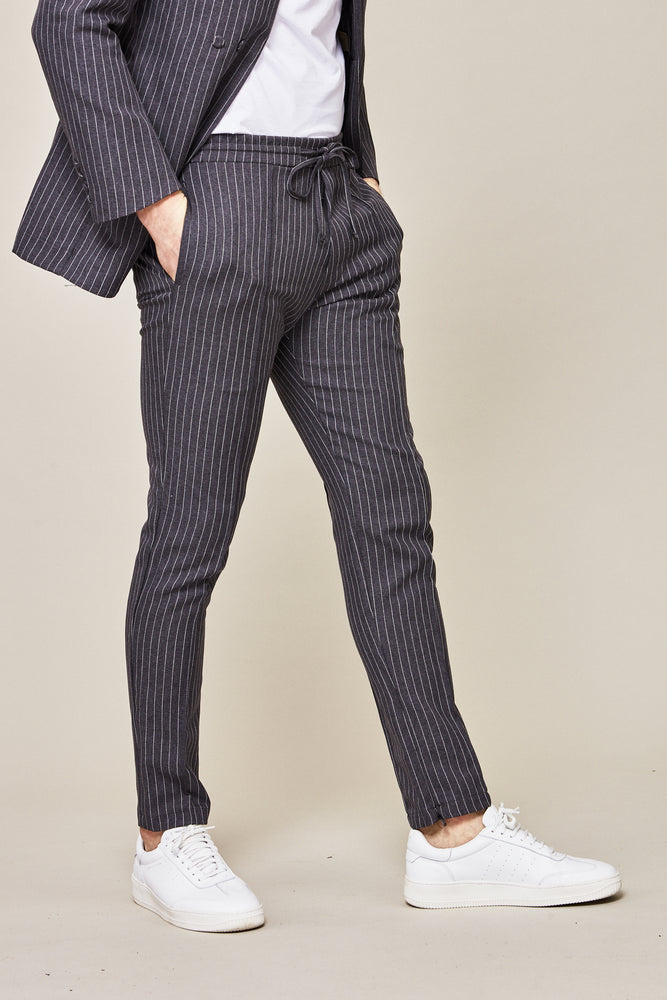 Grey Liberty Pinstripe Slim Fit Trousers - P r é v u . S t u d i o .