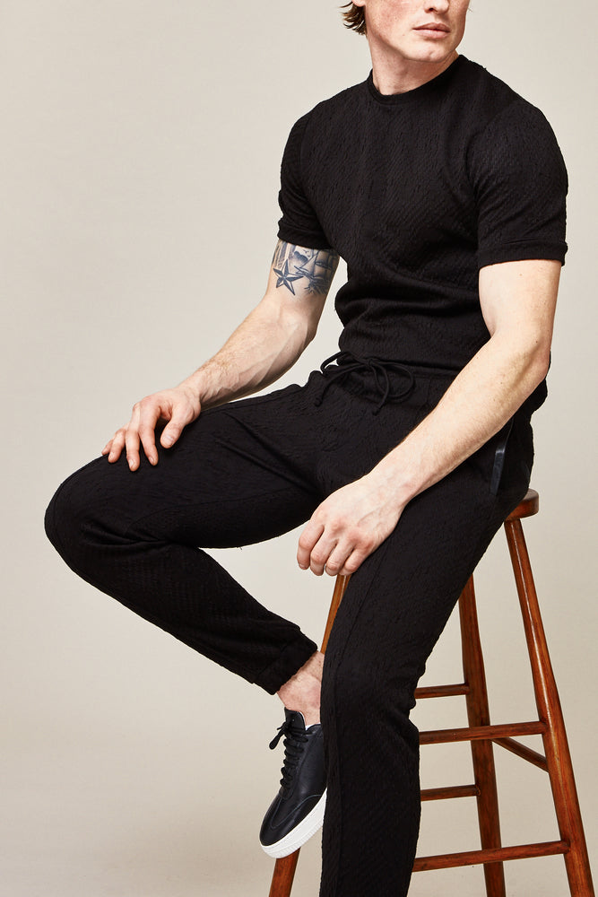 Black Graian Dogtooth Slim Fit T-shirt - P r é v u . S t u d i o .