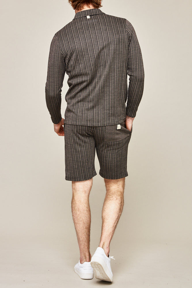 Load image into Gallery viewer, Black Stanworth Stripe Overshirt - P r é v u . S t u d i o .