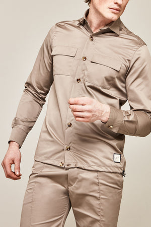 Load image into Gallery viewer, Gold Lorne Silk Slim Fit Shirt - P r é v u . S t u d i o .