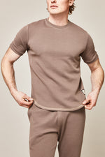 Light Brown Belshaw Twill Slim Fit T-shirt - P r é v u . S t u d i o .