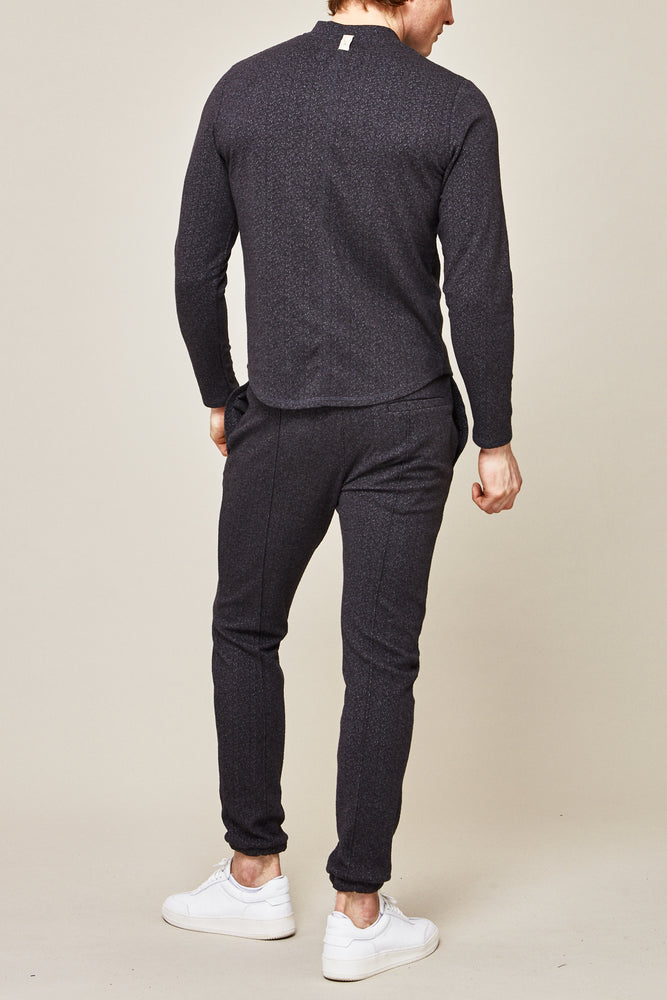 Dark Grey Tyrol Flecked Slim Fit Trousers - P r é v u . S t u d i o .