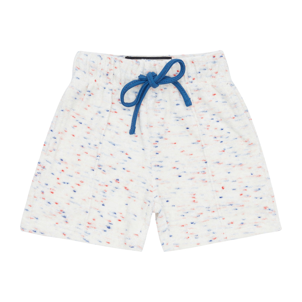 Load image into Gallery viewer, Kids White Milas Flecked Towelling Shorts - P r é v u . S t u d i o .