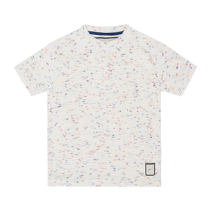 Load image into Gallery viewer, Kids White Milas Flecked Towelling T-shirt - P r é v u . S t u d i o .
