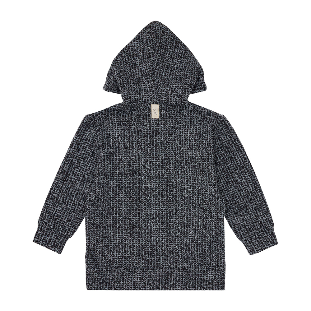 Load image into Gallery viewer, Kids Black Balfour Check Knitted Hoodie - P r é v u . S t u d i o .