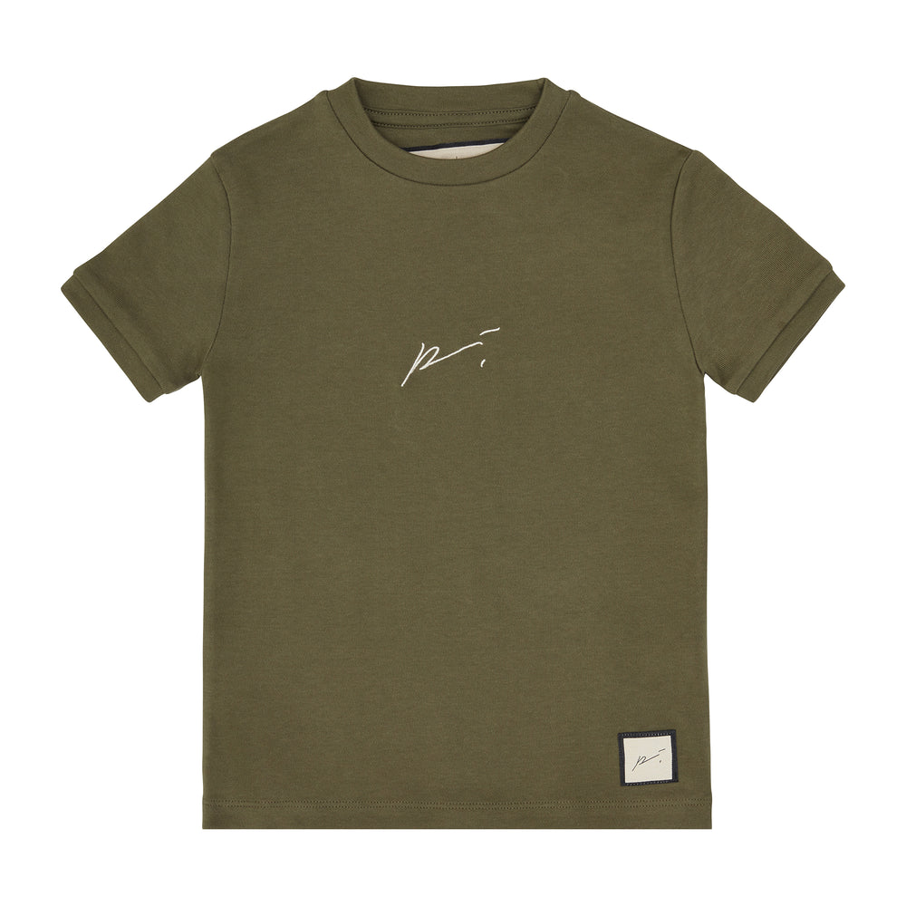 Load image into Gallery viewer, Kids Khaki Signature Logo T-shirt - P r é v u . S t u d i o .
