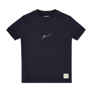 Load image into Gallery viewer, Kids Dark Navy Signature Logo T-shirt - P r é v u . S t u d i o .