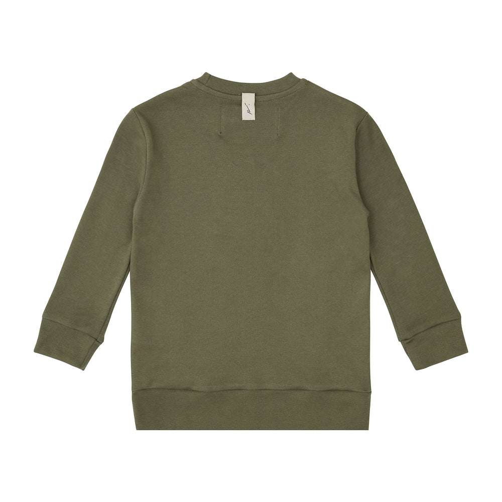 Load image into Gallery viewer, Kids Khaki Signature Logo Sweatshirt - P r é v u . S t u d i o .