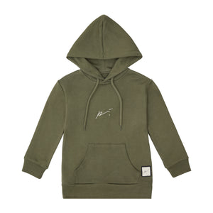 Load image into Gallery viewer, Kids Khaki Signature Logo Hoodie - P r é v u . S t u d i o .