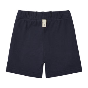 Load image into Gallery viewer, Kids Dark Navy Signature Logo Shorts - P r é v u . S t u d i o .