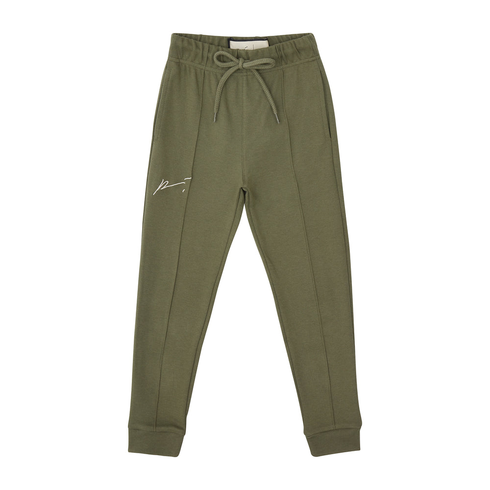Load image into Gallery viewer, Kids Khaki Signature Logo Joggers - P r é v u . S t u d i o .