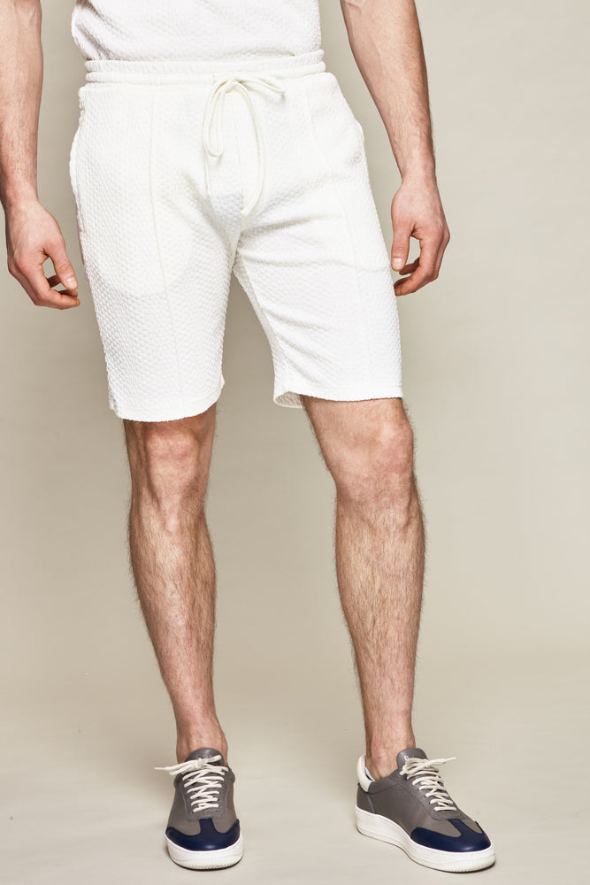 Load image into Gallery viewer, Ecru Tyburn Waffle Stripe Shorts - P r é v u . S t u d i o .