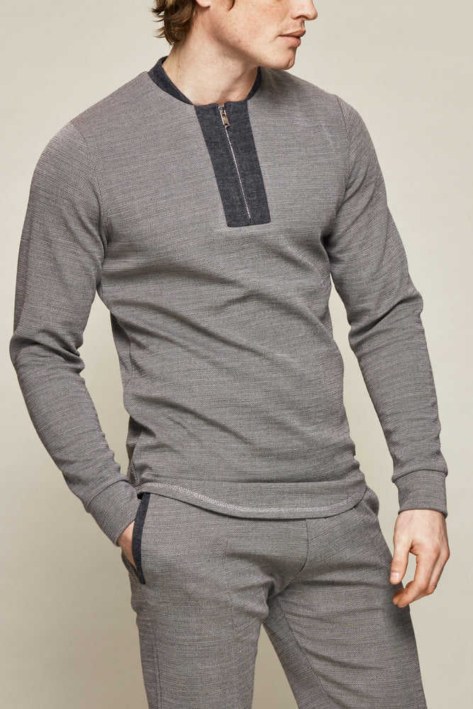 Grey Seville Zip Neck Slim Fit Top - P r é v u . S t u d i o .