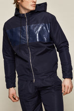 Navy Chesterton Lightweight Technical Windbreaker Jacket - P r é v u . S t u d i o .