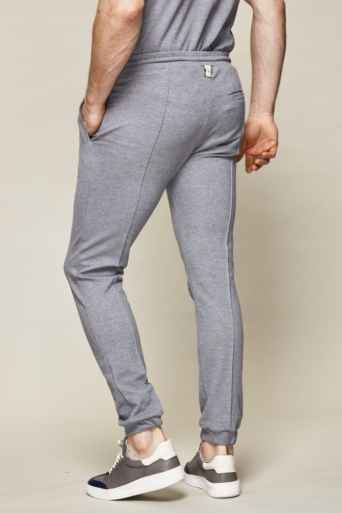 Grey Vetra Flecked Slim Fit Trousers - P r é v u . S t u d i o .