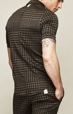 Chocolate Brown Regent Puppytooth Slim Fit Polo - P r é v u . S t u d i o .