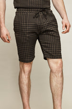 Chocolate Brown Regent Puppytooth Shorts - P r é v u . S t u d i o .