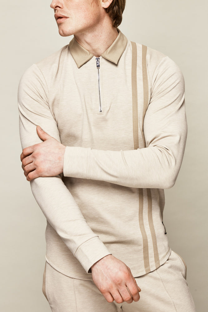 Cream Colville Stripe Slim Fit Polo - P r é v u . S t u d i o .