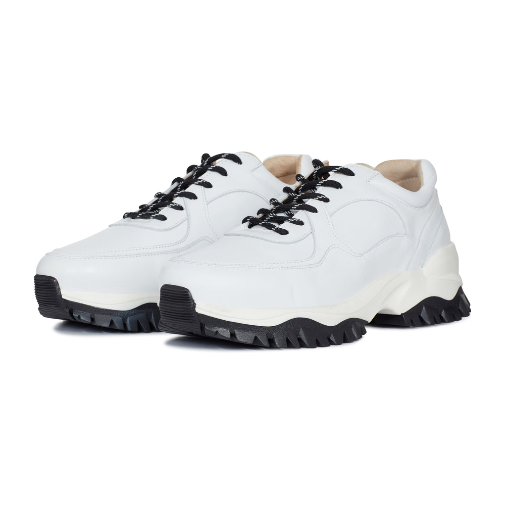 White Maxilla Leather Chunky Trainers - P r é v u . S t u d i o .