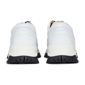 Load image into Gallery viewer, White Maxilla Leather Chunky Trainers - P r é v u . S t u d i o .