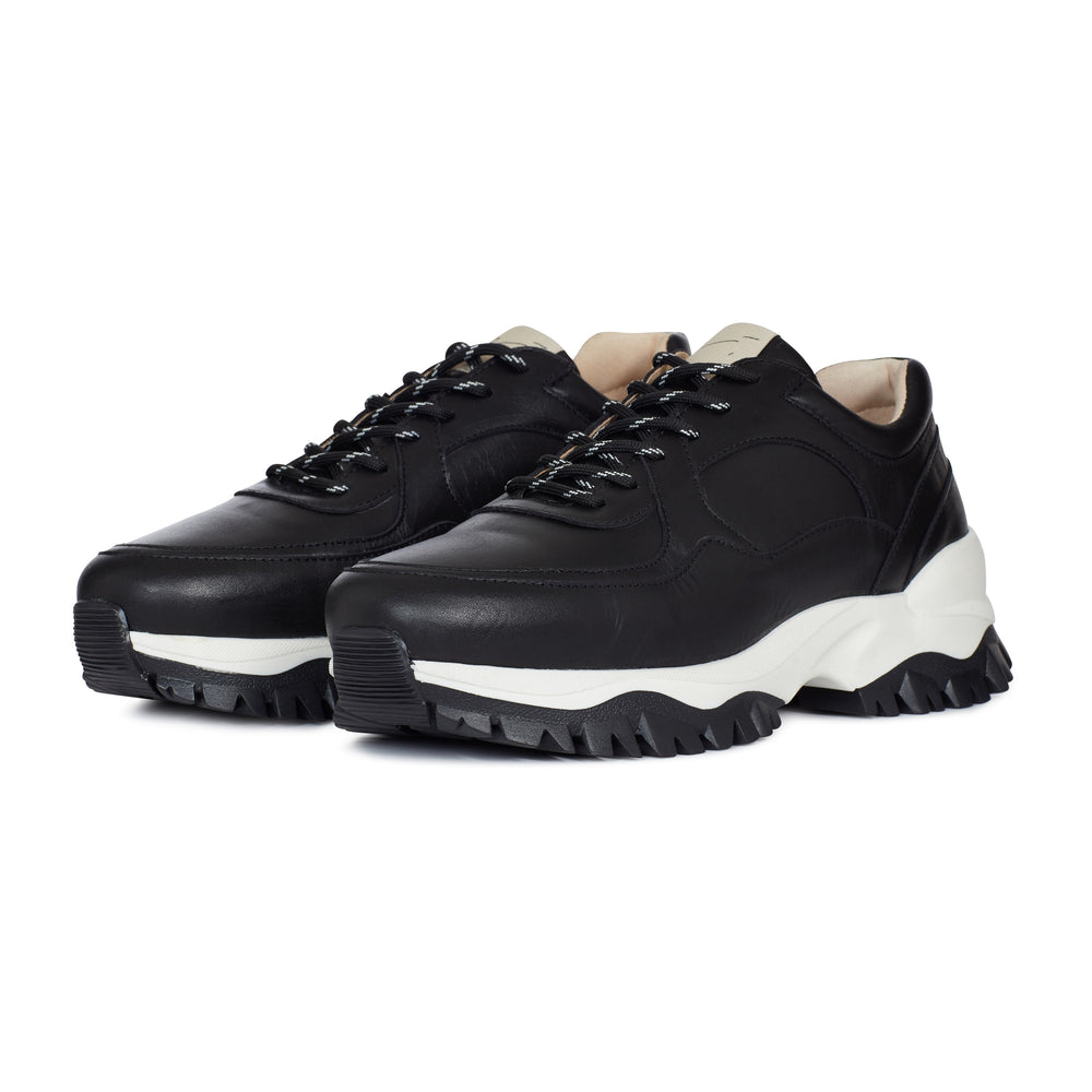 Black Maxilla Leather Chunky Trainers