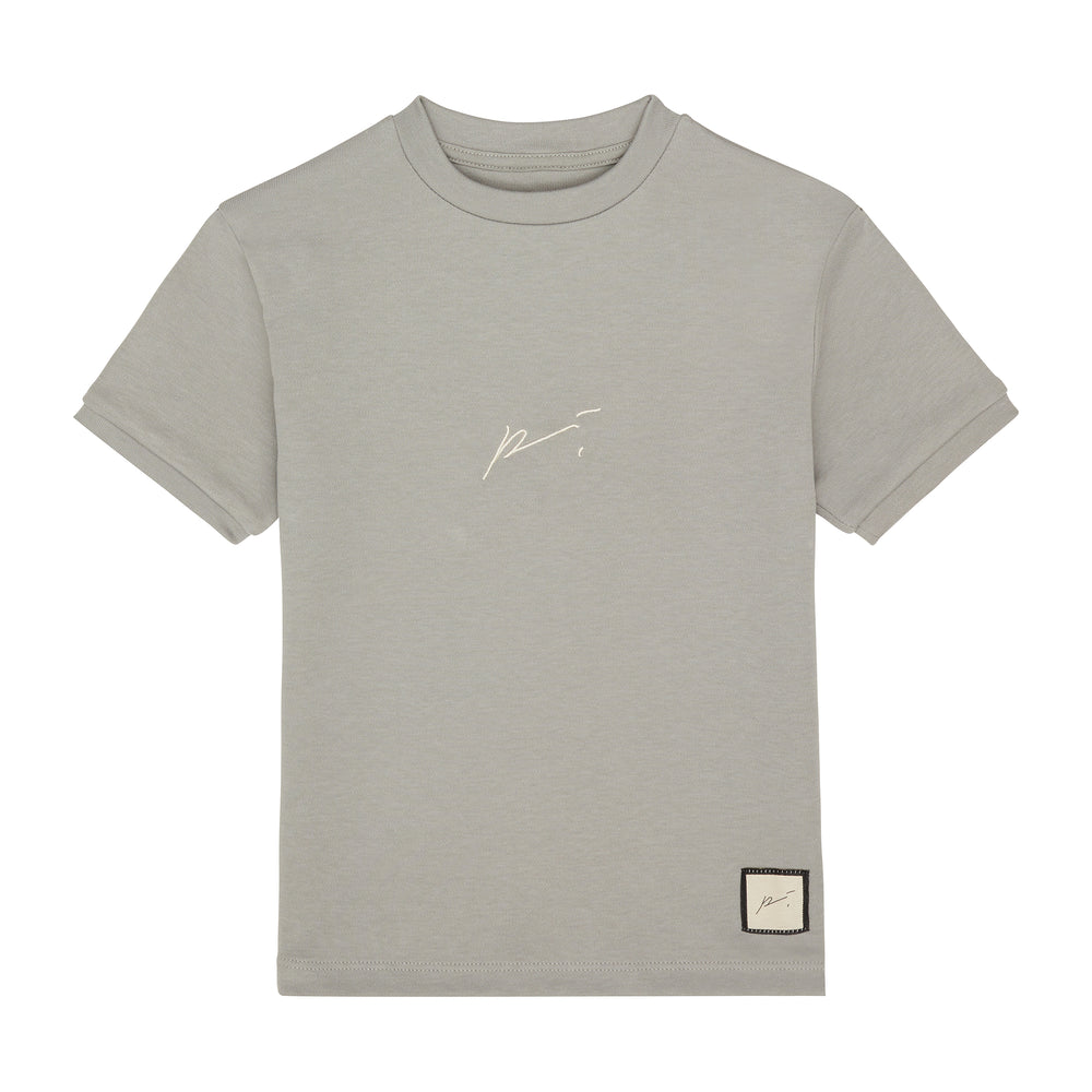 Kids Light Grey Signature Logo T-shirt - P r é v u . S t u d i o .