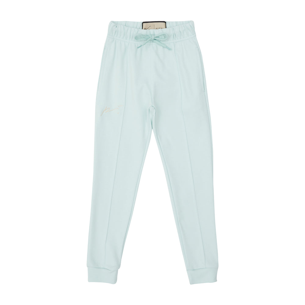 Load image into Gallery viewer, Kids Mint Green Signature Logo Joggers - P r é v u . S t u d i o .
