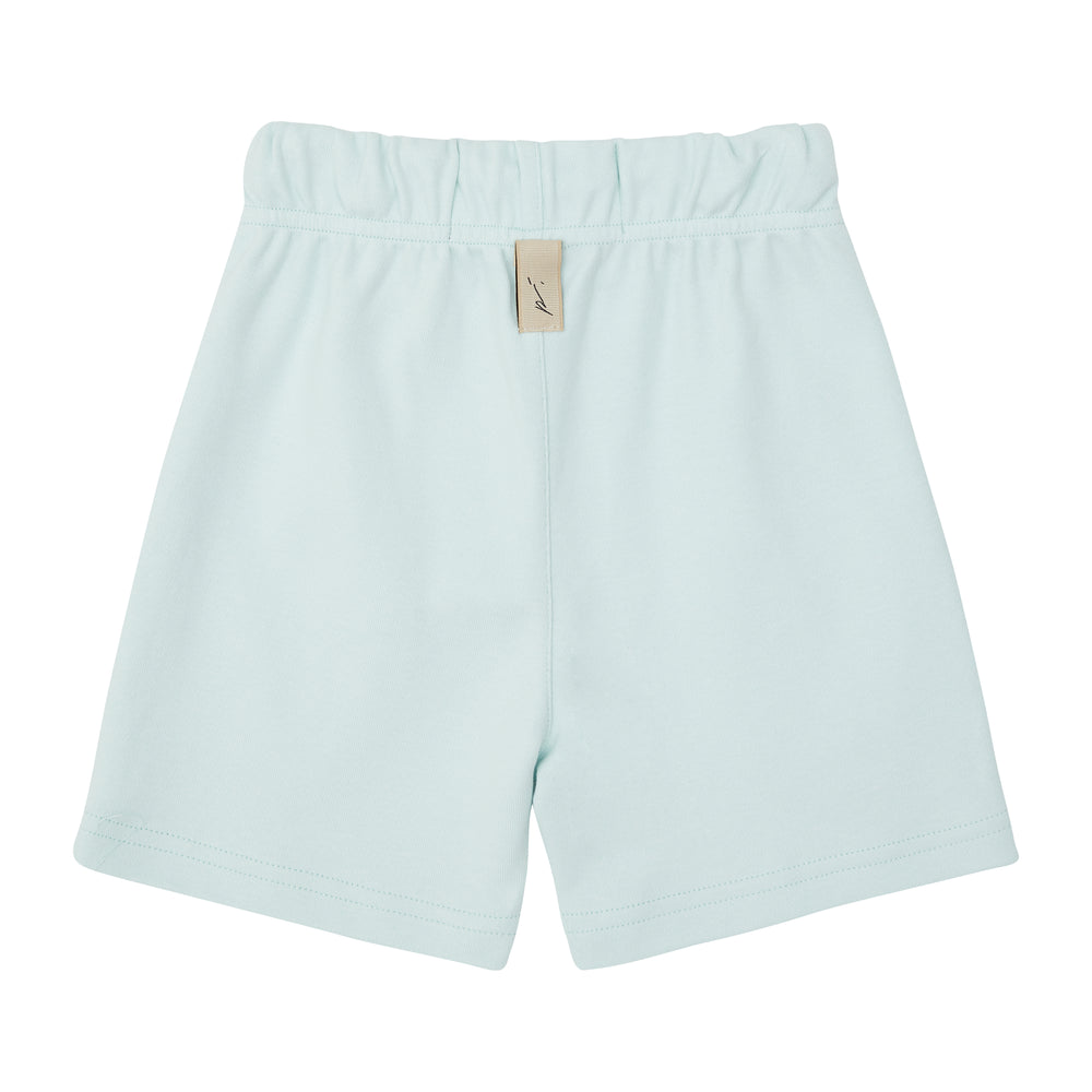 Kids Mint Green Signature Logo Shorts - P r é v u . S t u d i o .