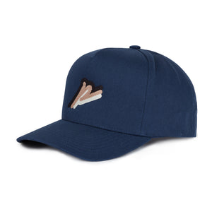 Load image into Gallery viewer, Navy Tri Logo Snapback Hat - P r é v u . S t u d i o .