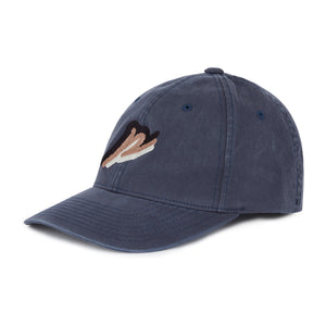 Load image into Gallery viewer, Washed Navy Tri Logo Baseball Cap - P r é v u . S t u d i o .