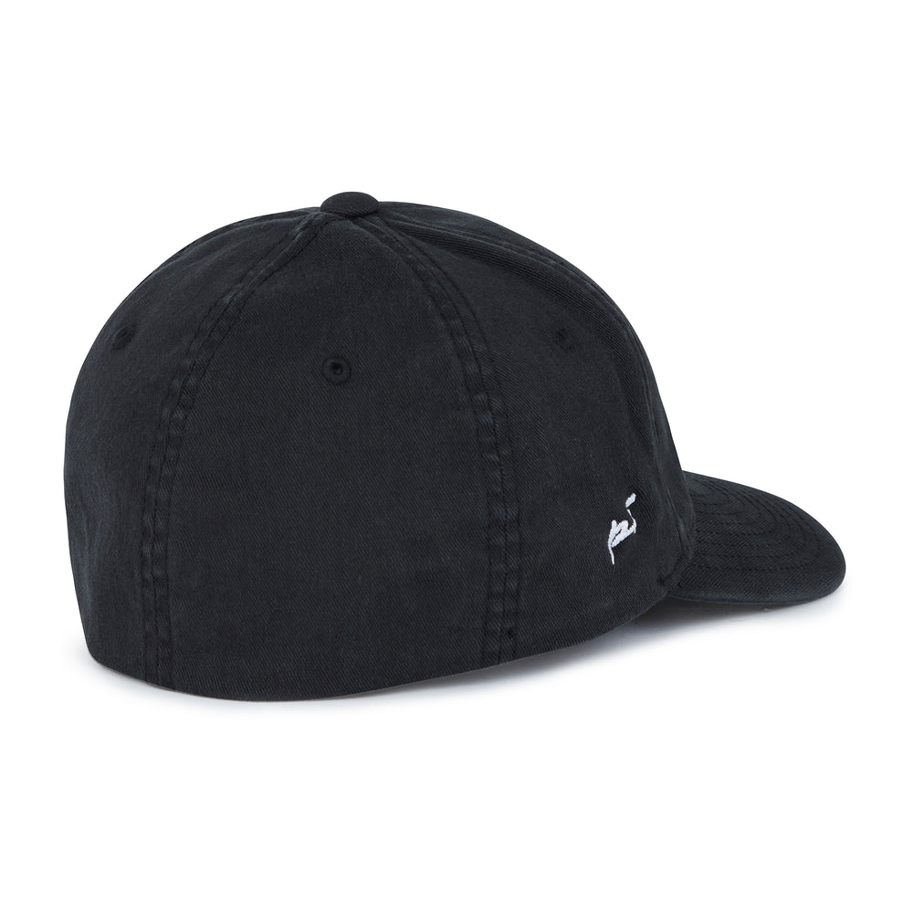 Load image into Gallery viewer, Washed Black Signature Logo Baseball cap - P r é v u . S t u d i o .