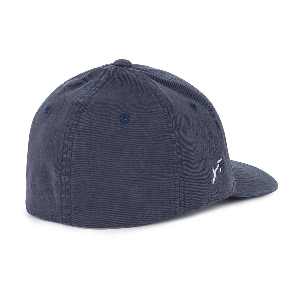 Load image into Gallery viewer, Washed Navy Signature Logo Baseball Cap - P r é v u . S t u d i o .