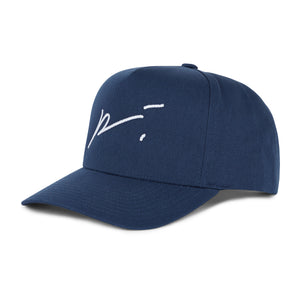 Load image into Gallery viewer, Navy Signature Logo Snapback Hat - P r é v u . S t u d i o .