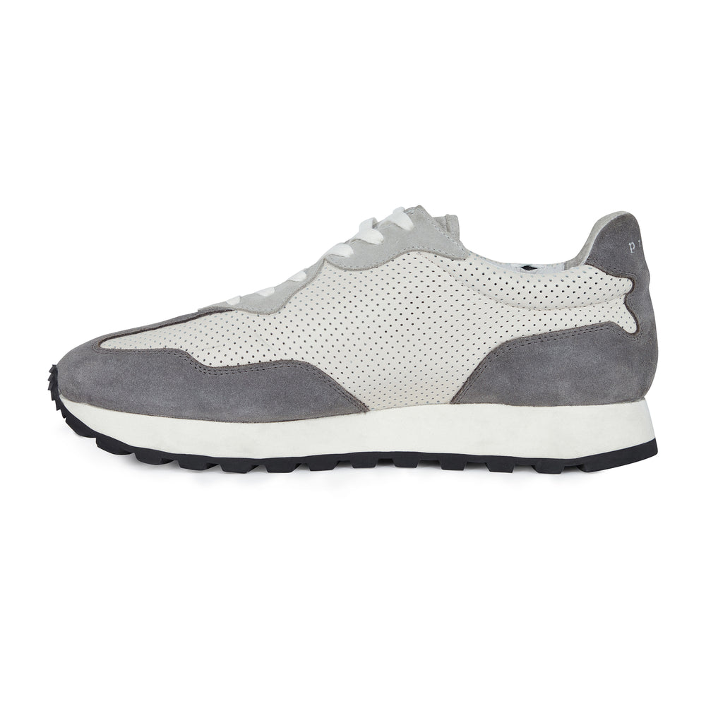 Load image into Gallery viewer, Grey and Cream Caldwell Leather Trainers - P r é v u . S t u d i o .