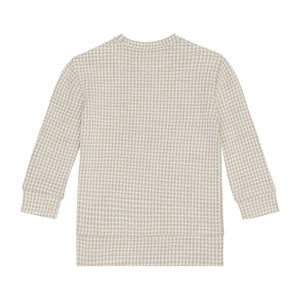 Load image into Gallery viewer, Kids Beige Medina Check Sweatshirt - P r é v u . S t u d i o .