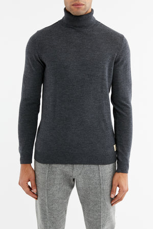 Charcoal Grey Merino Wool Roll Neck Jumper - P r é v u . S t u d i o .