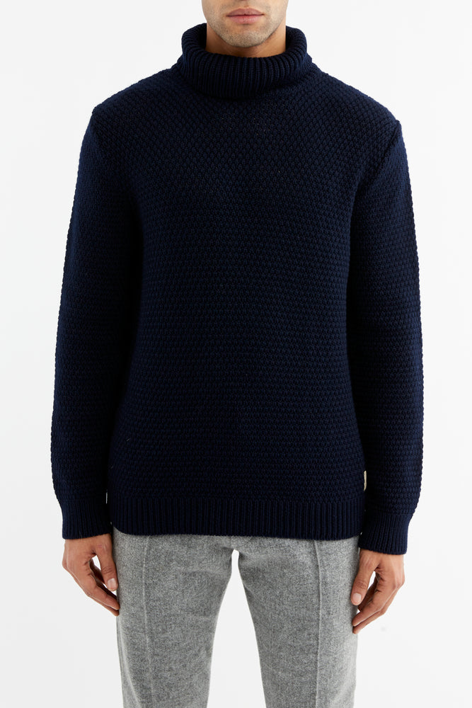 Black Merino Wool Fisherman Roll Neck Jumper - P r é v u . S t u d i o .