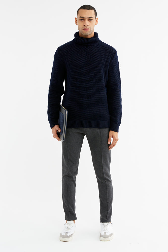 Navy Merino Wool Fisherman Roll Neck Jumper - P r é v u . S t u d i o .