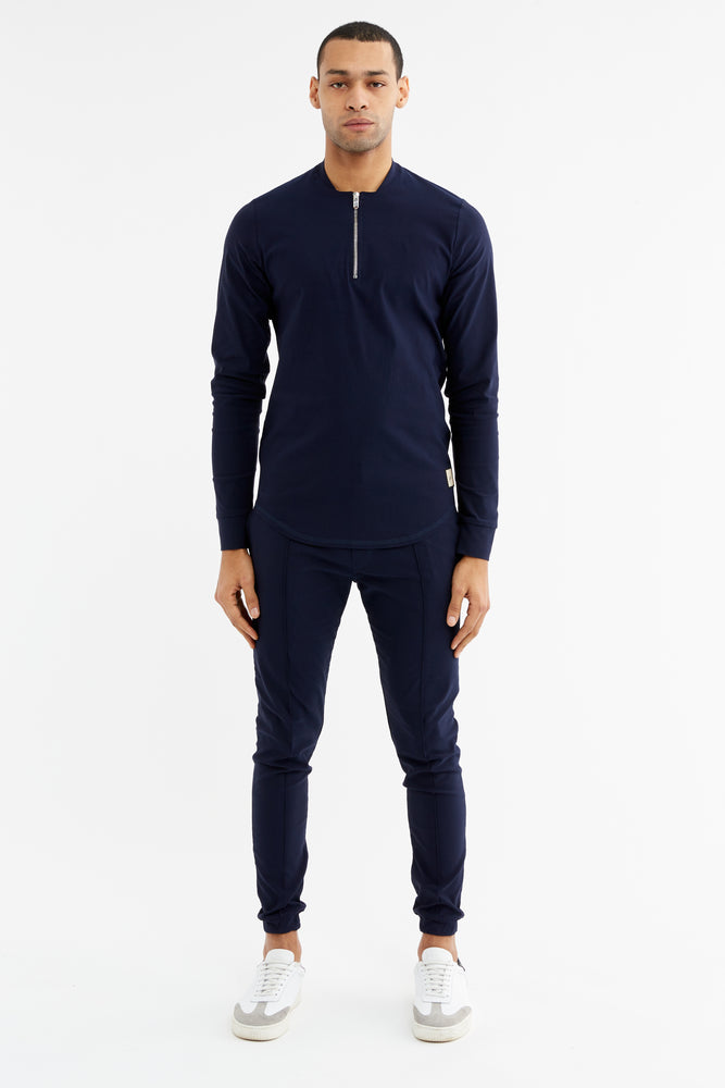 Navy Salvatore Zip Neck Slim Fit Top - P r é v u . S t u d i o .