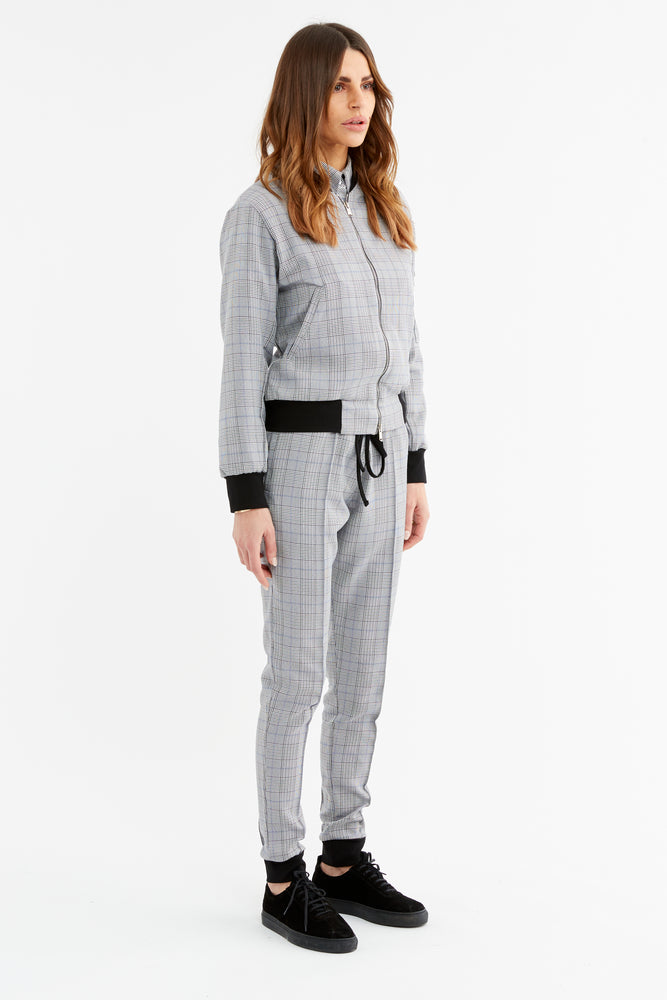 Women's Black and White Marano Check Slim Fit Trousers - P r é v u . S t u d i o .