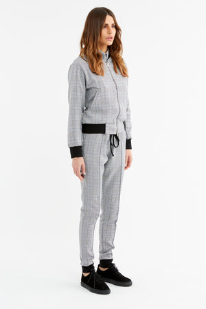 Load image into Gallery viewer, Women's Black and White Marano Check Slim Fit Trousers - P r é v u . S t u d i o .