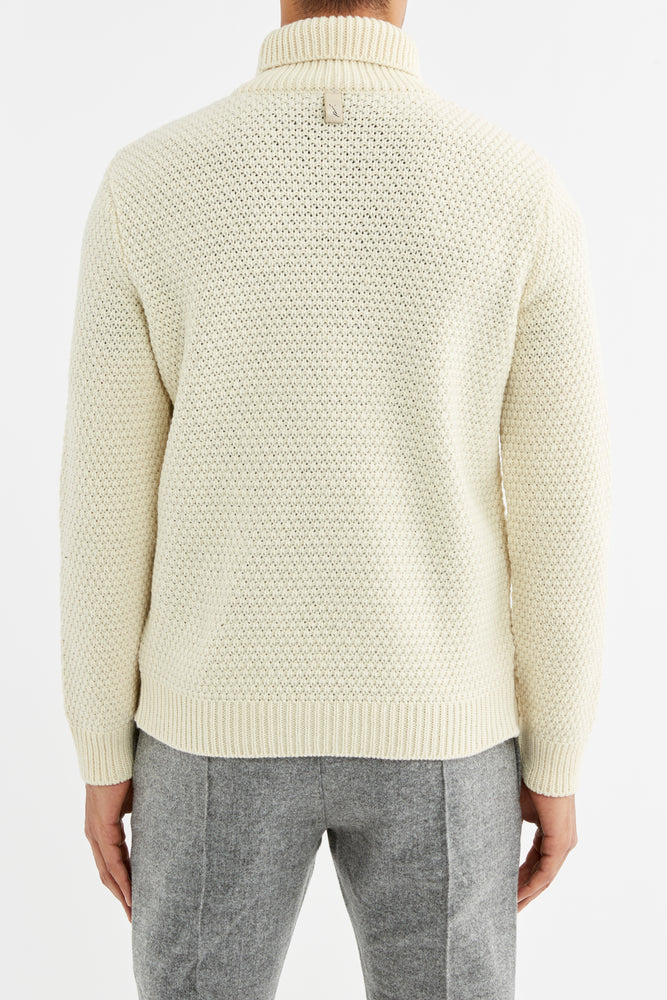 Cream Merino Wool Fisherman Roll Neck Jumper - P r é v u . S t u d i o .