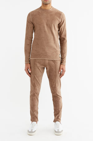 Tan Geneva Slim Fit Trousers - P r é v u . S t u d i o .
